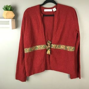 Anthro | Sleeping on Snow wool cardigan red sz XL